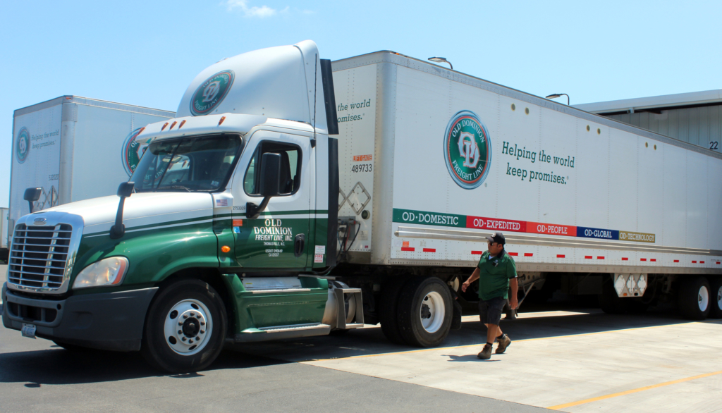 One of the many company trucks leaving and arriving at the service center in La Feria. (VBR)