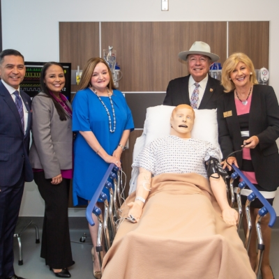 "Texas Workforce Commissioner Representing Labor Julian Alvarez, Workforce Solutions Strategy and Engagement Director Arcelia Sanchez, Workforce Solutions Boardmember Sonia Falcon, Sen. Juan ""Chuy"" Hinojosa, and South Texas College President Shirley A. Reed at the formal check signing ceremony Aug. 1."