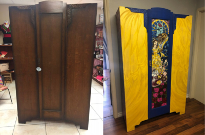 This before and after shows a month-long process of transforming a vintage armoire into a one-of-a-kind piece of art.