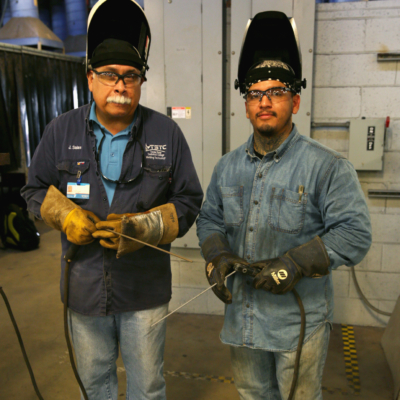 TSTC Welding Technology instructor Jose Salas and his son Jesse Salas, who is a student in the program. (photo TSTC)