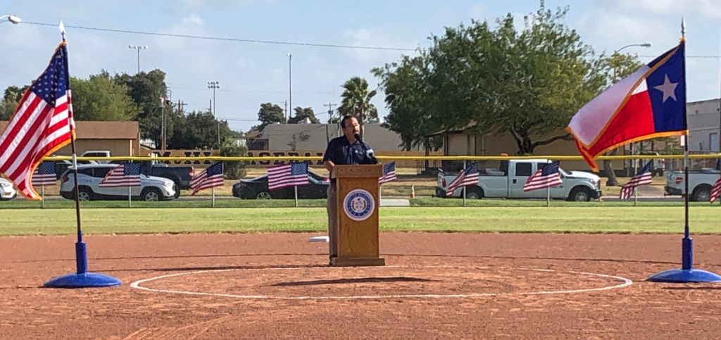 Mike Evans, director of Mcallen Parks and Recreation, speaks about the opening of the new softball complex.