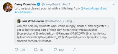 Country music singer Casey Donahew has now played a significant role in the #clearthelists movement.