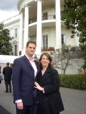 Cramer Miller and Annie Holand in front of the White House in 2005.