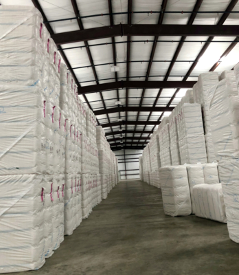 Bales stacked up high at one of CIL's new warehouses in Weslaco.