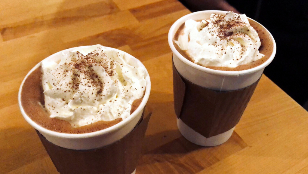 One of Moonbeans Coffee's specialty drinks, the Meteor, is the Mexican Abuelita Hot Chocolate; their Ben's Meteor is a shot of espresso and some brown sugar cinnamon.