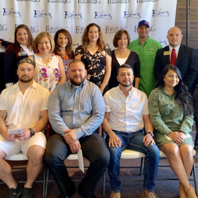 Scholarship recipients include (seated) Juan Cerda, John Garcia, Gabriel Carrizales, Juan Gonzalez, Carla Blevins and Hector Villanueva. (photo Edinburg Chamber)