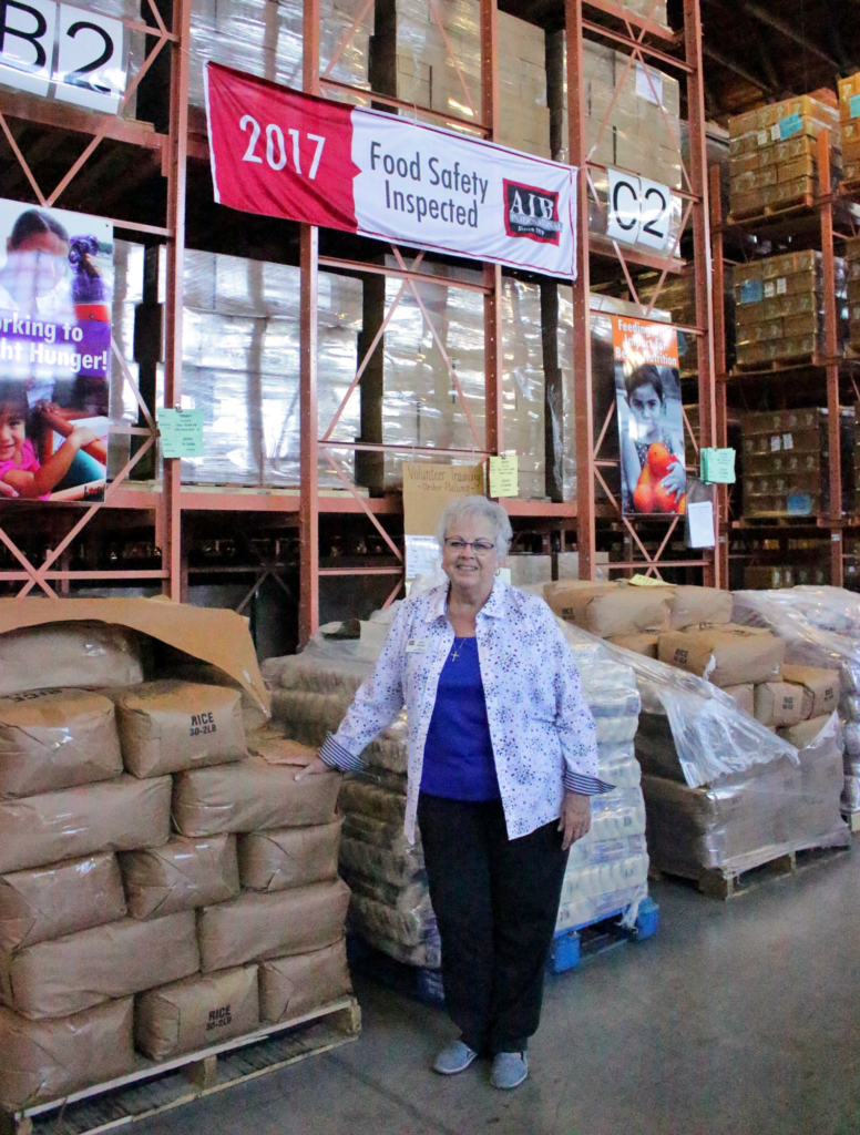 Interim Director Janie Sinclair stands in the 3,000-square-foot warehouse that makes up Food Bank RGV.