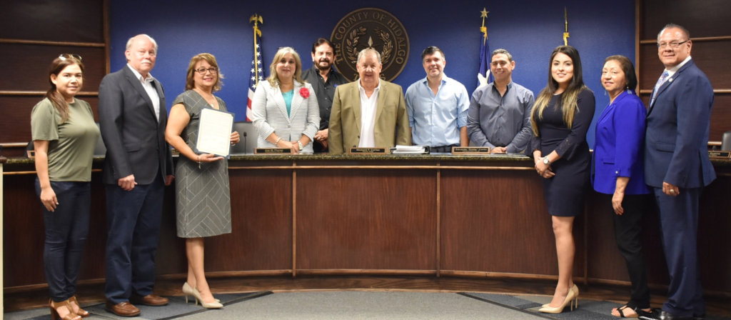 Members from the South Texas Manufacturers Association, the Pharr EDC, South Texas College, and PSJA ISD with Commissioners Court. October is Manufacturing Month. Support manufacturers and buy U.S. products.