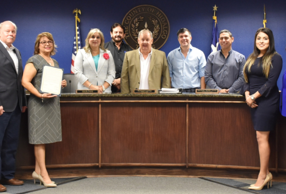 Members from the South Texas Manufacturers Association, the Pharr EDC, South Texas College, and PSJA ISD with Commissioners Court. Manufacturing Month is observed in October. Support manufacturers and buy U.S. products.