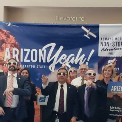 "McAllen International Airport staff and advisory board members help ""launch"" Allegiant Air's inaugural flight to Phoenix."