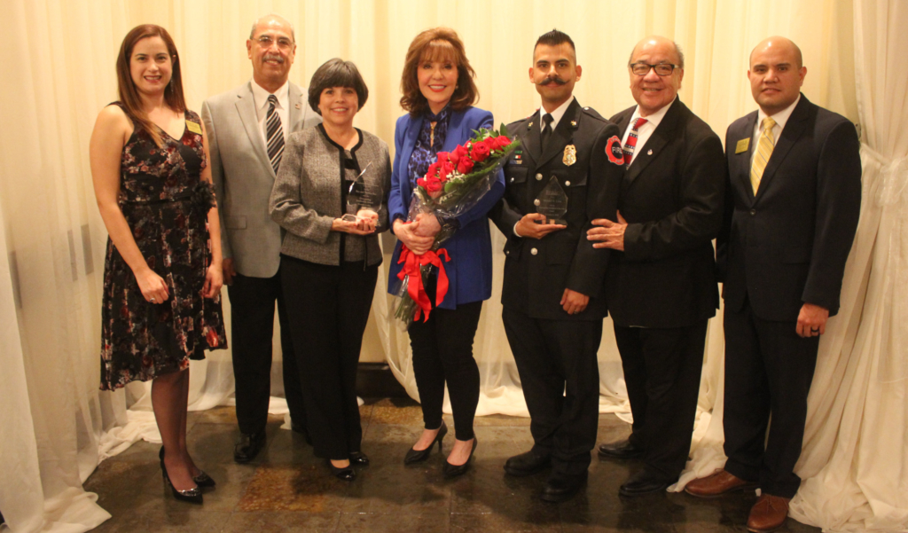 Last year's Edinburg Chamber award recipients with outgoing President Jennifer Garza and Executive Director Ronnie Larralde.