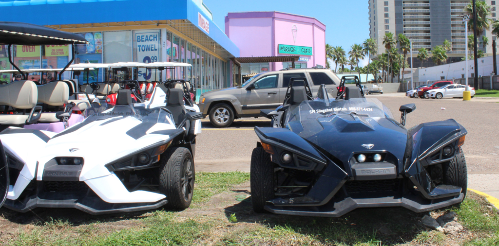 Two slingshot vehicles for rent on SPI.