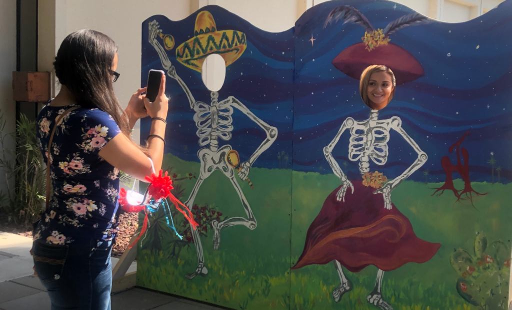 Guests use the picture op at the festival.