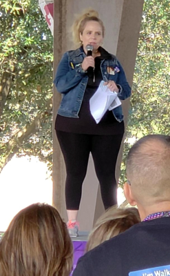 Melissa Zamora, co-founder of the Rio Grande Valley Walk, speaks to the crowd at the start of the 2019 walk Nov. 2 at the Edinburg Municipal Park.