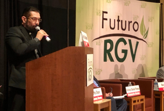 Bishop Daniel Flores addresses the audience at a Census 2020 Forum.