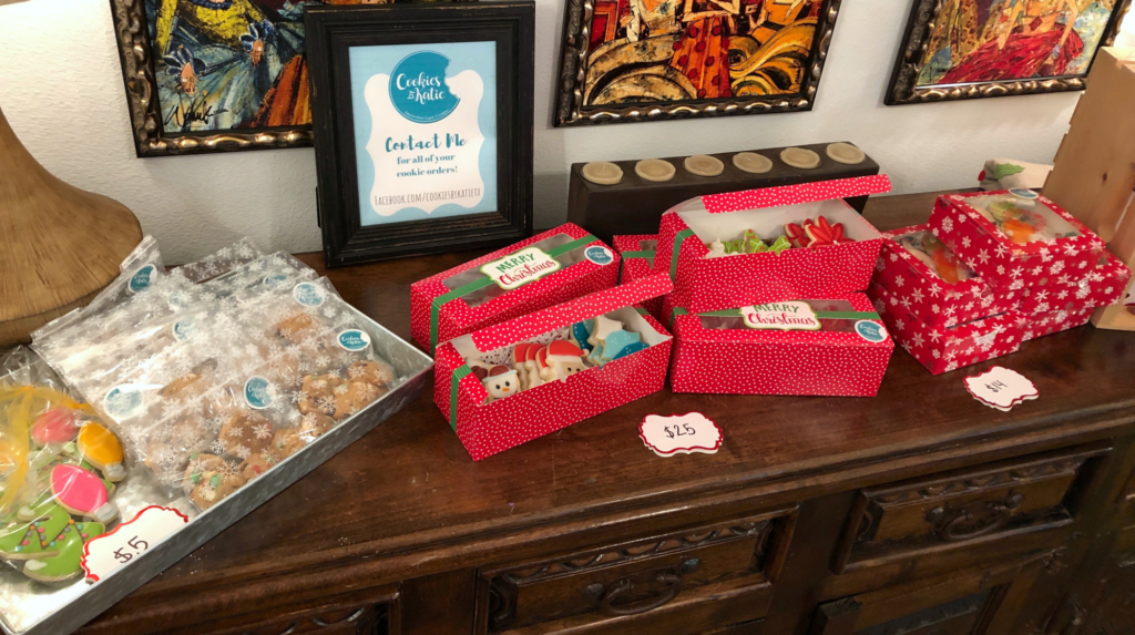 Packaging and displays provide potential customers with their first glimpse of a product. Katie Jones, owner of home-baked Cookies by Katie, pays close attention to detail to draw customers in at a holiday market in Weslaco in December.