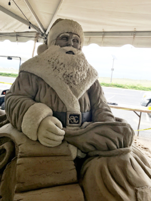 This year's Sand-ta is the creation of Joaquin Cortez. There's so much detail that even his belt buckle features Santa's initials.