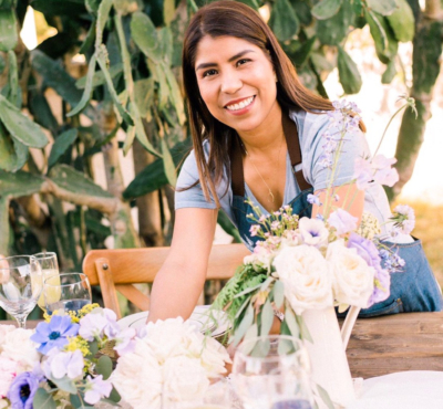 Southern Roots Flower Market owner Mariana Linaldi in her element. (Courtesy)