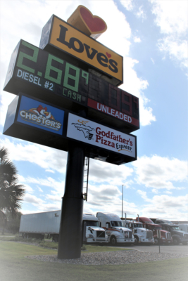 The Love's Truck Stop's billboard close to FM 511 near the Port of Brownsville.