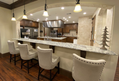 The resident chef prepares home-cooked meals in the high-tech but homey open kitchen on site. (VBR)