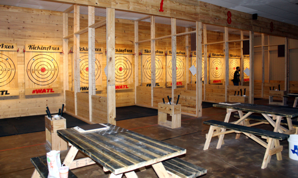 Aaron Vera, one of the Kickin Axes RGV owners, in a double-target station.