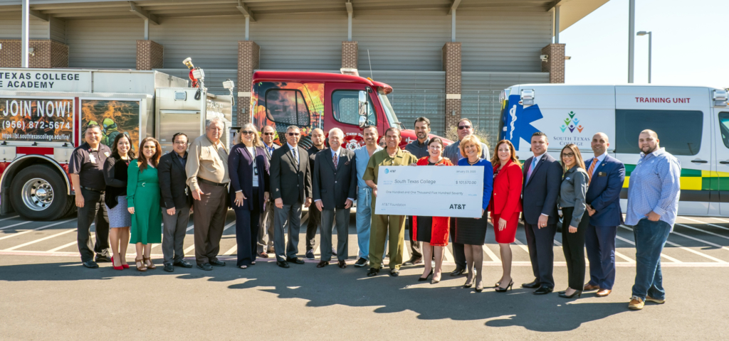 Valley lawmakers join South Texas College leaders to launch a pilot program targeting low-income students, existing firefighters and first responders. The grant will encourage students to complete or re-certify their first responder certification. (photo STC)