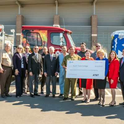 Valley lawmakers join leadership from South Texas College for the official launch of a pilot program targeting 80 low-income students, existing firefighters and first responders. The grant will encourage students to complete or re-certify their first responder certification. (photo STC)