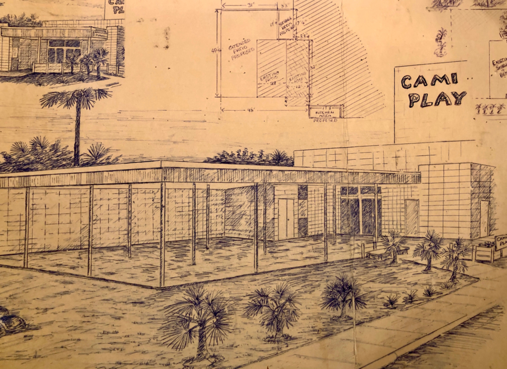Early artistic rendering of the Camille Playhouse at Dean Porter Park.