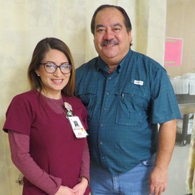 Maria Herrera, an RN at Edinburg Regional Medical Center, with Tony Aguirre after their serendipitous meeting.