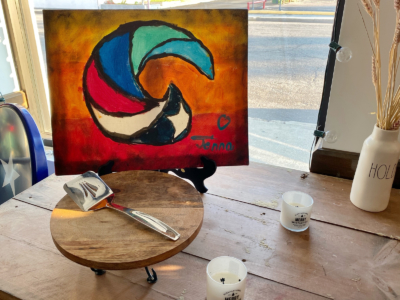 Coastal Americana's logo, hand painted by the Garza-Gerows' 8-year-old daughter Jenna.