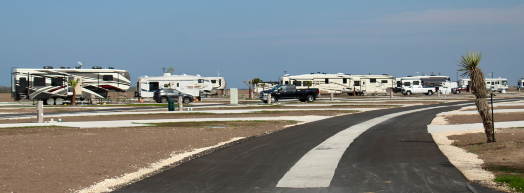 RV and motorhomes at the Brownsville-area resort.