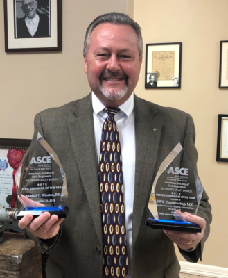 Randall Winston with the 2019 Civil Engineer of the Year and 2019 Innovative Project of the Year awards.