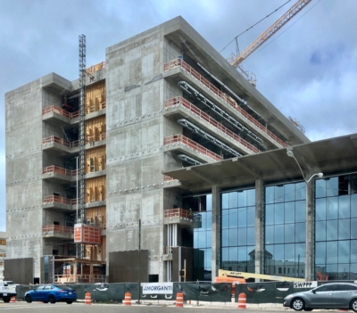 The ongoing construction of the new Hidalgo County Courthouse in Edinburg continues through the COVID-19 crisis. (VBR)