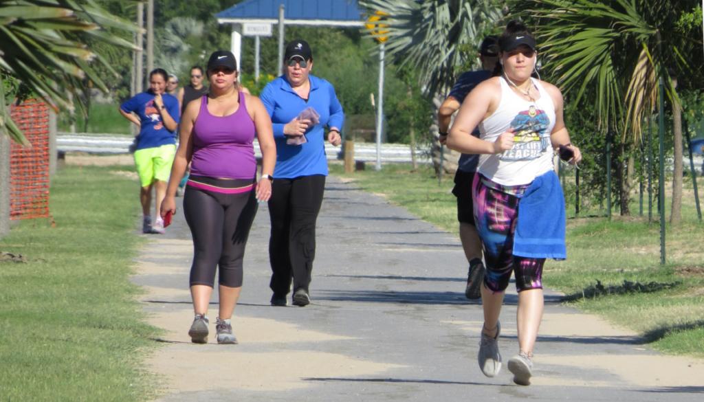 Hidalgo-County residents take advantage of the Hidalgo County Precinct 2 Hike-and-Bike Trail in San Juan.