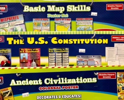 Educational posters and charts are among the many items for sale at Super Teachers Supplies.