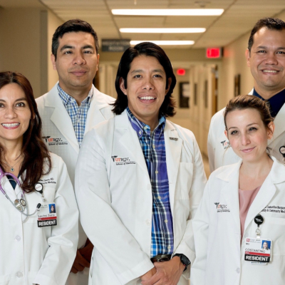 Dr. Miguel Tello, center, with the first class of physician residents of a UTRGV School of Medicine program in the Mid-Valley. (Courtesy)