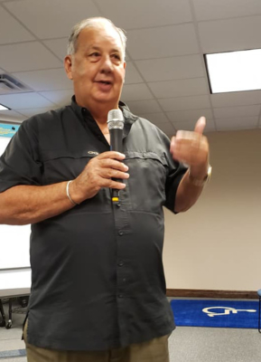Hidalgo County Judge Richard Cortez addresses the County's Mental Health Coalition during a meeting in 2019.