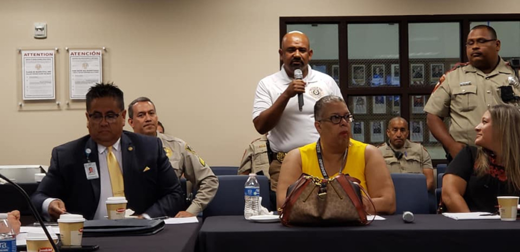Juan Sifuentes, commander of the Hidalgo County DA HIDTA Task Force, speaks to fellow Hidalgo County Mental Health Coalition members at a meeting in 2019.