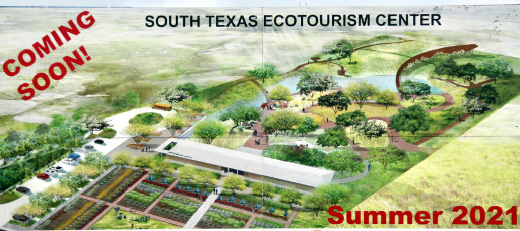 A roadside sign touts the coming ecotourism center.