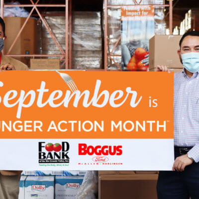 Stuart Haniff, CEO, Food Bank RGV with Robert Lucio, general manager of Boggus Ford McAllen