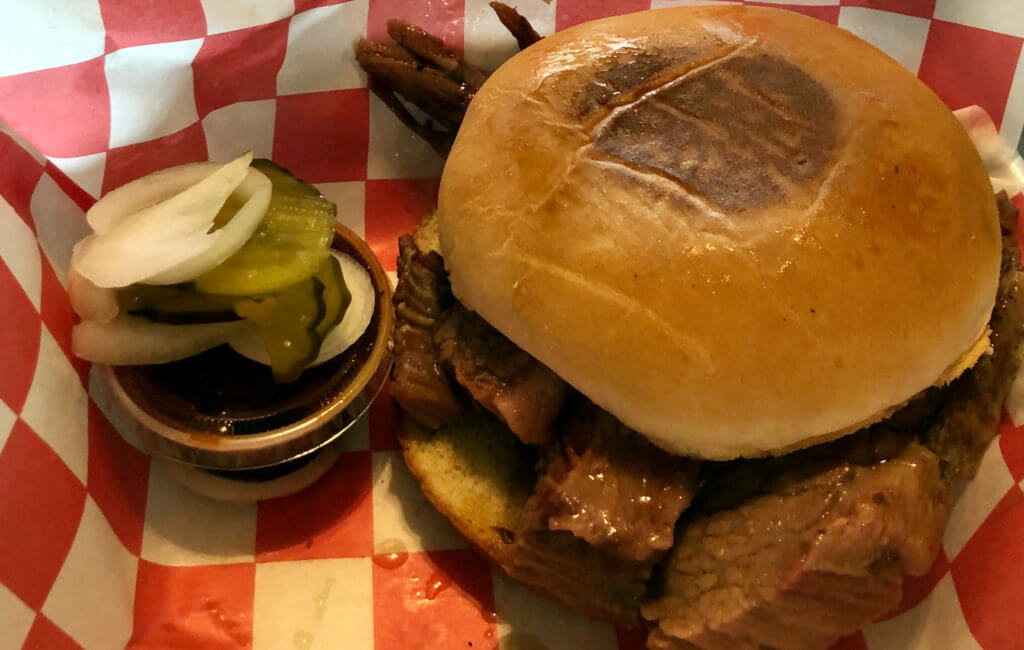 A barbecue sandwich ready to go at Tucker's.