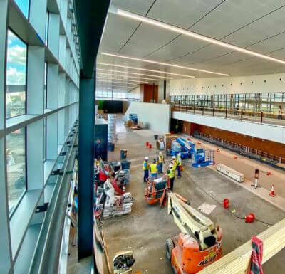 New passenger terminal offers expansive window views. (Courtesy)