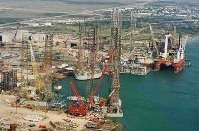 Aerial photo of the AmFELS shipyard at the Port of Brownsville. (Courtesy)