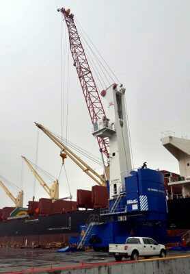 Mobile harbor cranes are essential to moving cargo at the Port of Brownsville. (courtesy)