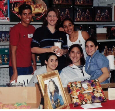 A group of the original Monica's Angels pose before the start of Monica's Angels Day at Broadway Hardware in McAllen in the late 90s. Top: Emerson Roman, Liz Simpson Ramsby and Arlene Peralta-Avila. Seated: Danielle Heath, Monica Aime Garcia and Cristina Guerra Seal.