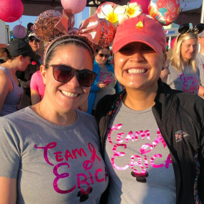 Cristina Guerra Seal and one of her best friends since kindergarten, Erica Villareal Ellis, at the 2019 Susan Komen Race for the Cure in San Antonio.